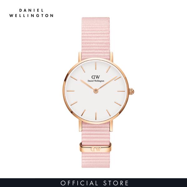 Đồng hồ Nữ Daniel Wellington dây vải nato - Petite Rosewater mặt trắng - vỏ vàng hồng bán chạy