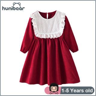 Baby Cô Gái Ăn Mặc, Đầm Ren Cổ Tròn Hoài Cổ Nhung Kẻ Mới Đầm Cổ Điển Trẻ Em Dài Tay, 1-5 Năm
