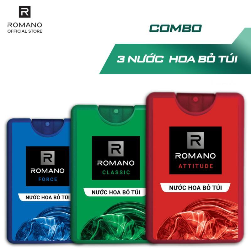 Combo 3 Nước hoa bỏ túi Romano 18ml Classic & Force & Attitude