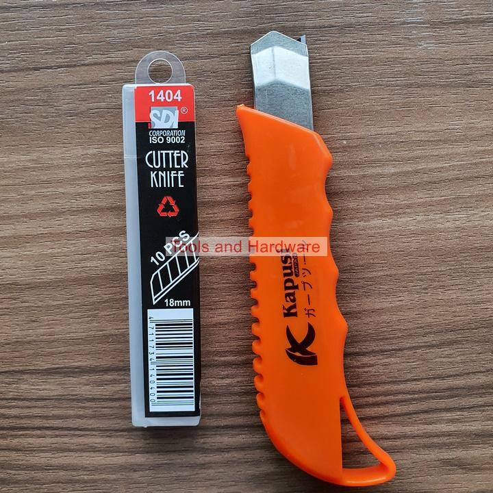 Dao rọc giấy hãng Kapusi Nhật Bản có thể chọn combo kèm 10 lưỡi lthay thế KAPUSI, lưỡi thép không rỉ, cực sắc bén phù hợp với vặn phòng, cắt decal, dao cắt decal, dao trổ, dao roc giay