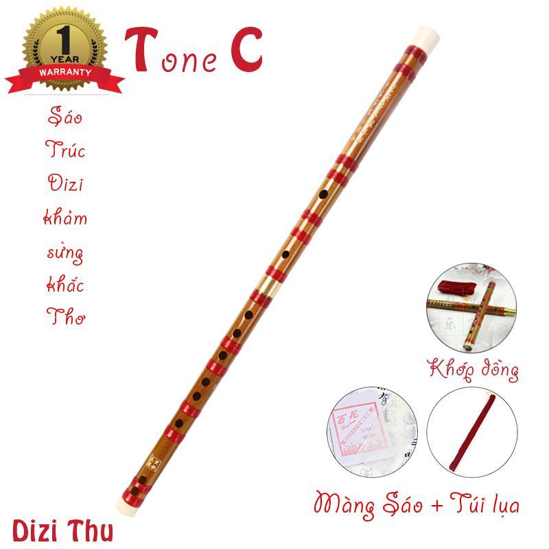 Sáo Trúc Dizi Khảm Sừng - Khắc thơ - Khớp đồng -Túi lụa kèm màng sáo - Nhiều tone tùy chọn - Dizi Thu