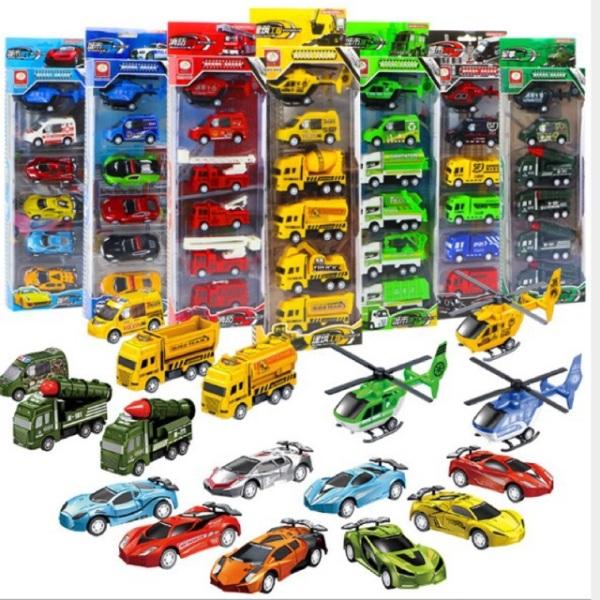 [DEAL SỐC] Bộ đồ chơi 6 chiếc mô hình ô tô, máy bay công trình xây dựng, quân đội phát triển kỹ năng nhận biết cho bé, xe ô tô đồ chơi cho bé trai và bé gái từ 2-6 tuổi - Gutymart
