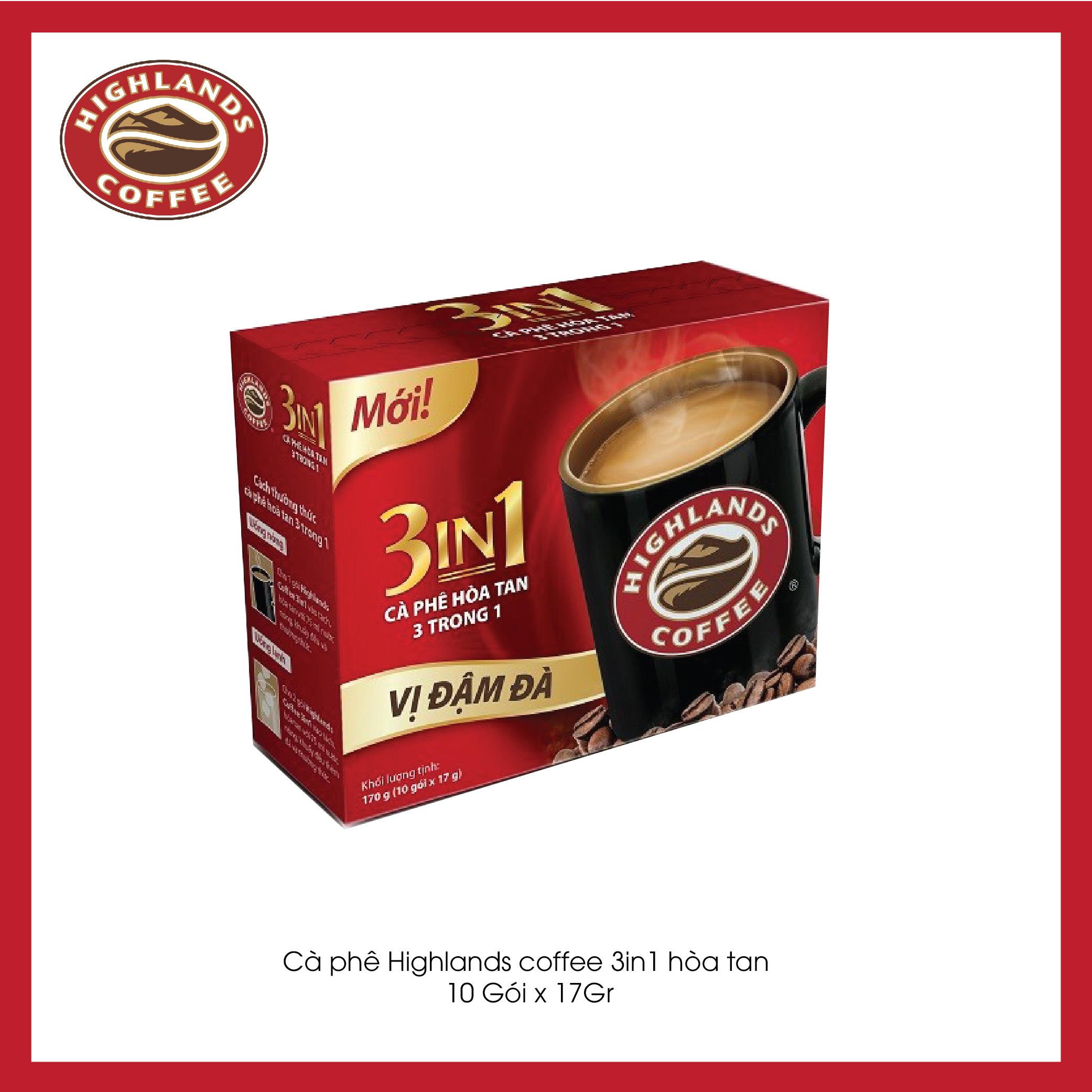 Cà phê sữa hòa tan 3in1 Highlands Coffee (10 gói x 17g)