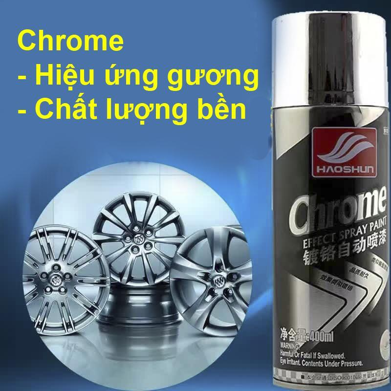 Sơn xịt mạ Chrome HaoShun inox sáng bóng xe máy, ô tô (400ml)