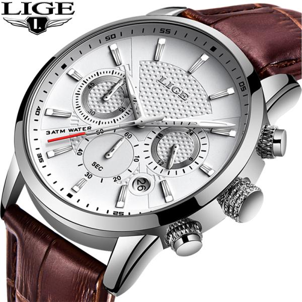 Nơi bán LIGE Đồng Hồ Đeo Tay Nam Dạng Chronograph Da Không Thấm Nước Sáng Dòng Analog Quartz Nhiều Màu Sắc Dễ Chọn Dễ Dùng