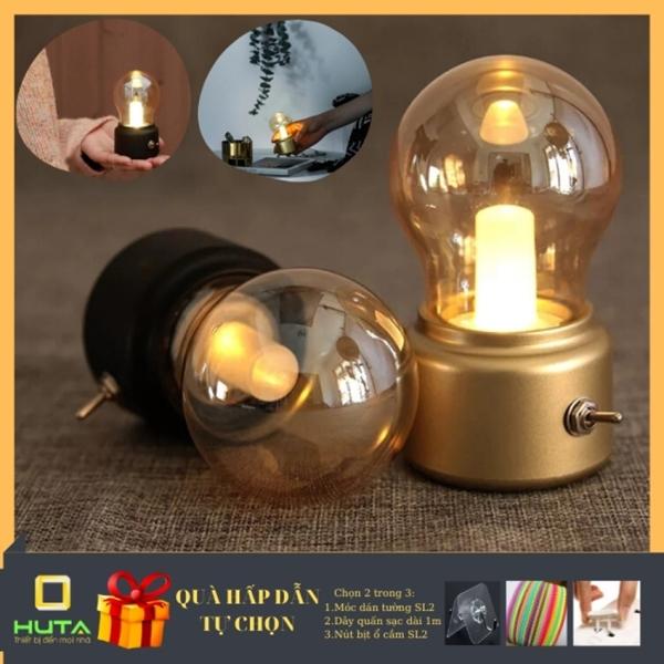 [HÀNG CAO CẤP] Đèn ngủ để bàn mini, LED pin sạc, dùng làm đèn trang trí [SÁNG 72h LIÊN TỤC], tặng kèm dây sạc dài 1m 28k, tính năng đèn tích điện rất cao - HUTA Shop