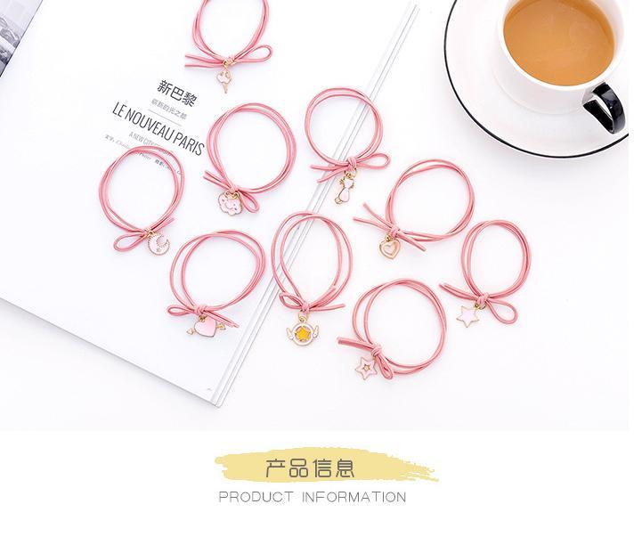 Combo 10 dây buộc tóc thắt nơ màu hồng hình siêu dễ thương nhập khẩu