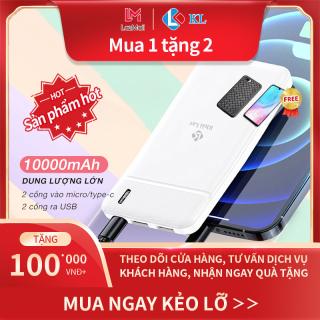 Pin sạc dự phòng 10.000mAh thiết kế nhỏ gọn Sạc nhanh + PD + QC3.0 + FCP Dành cho iPhone Redmi Huawei Samsung Xiaomi 2 cổng ra USB,Sạc cùng lúc nhiều thiết bị nhỏ gọn dung lượng khủng thumbnail