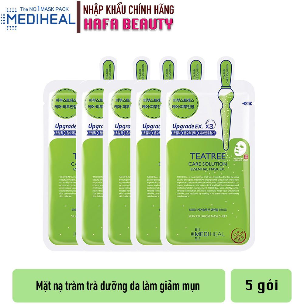 Combo 5 Mặt nạ dưỡng da trị mụn chiết xuất tràm trà Mediheal Teatree Care Solution Essential Mask Ex 24ml x5 nhập khẩu