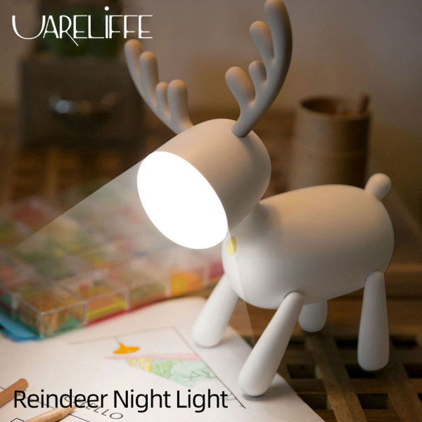 Bảng giá Uareliffe Reindeer Night Light With Fun Tail Switch USB Rechargeable Smart Timing Dual Light Source Switching Lamp Cardan Shaft Structure Elk Deer Led Lamp Bedroom Desktop Decoration For Christmas Kids Gift