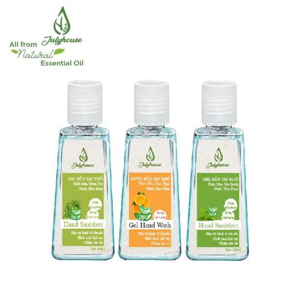 [mùi tự chọn] Gel rửa tay khô tinh dầu thiên nhiên và Nha Đam chai 60ml JULYHOUSE giúp cho da tay mềm mại khử mùi hôi thư giản tinh thần giá rẻ