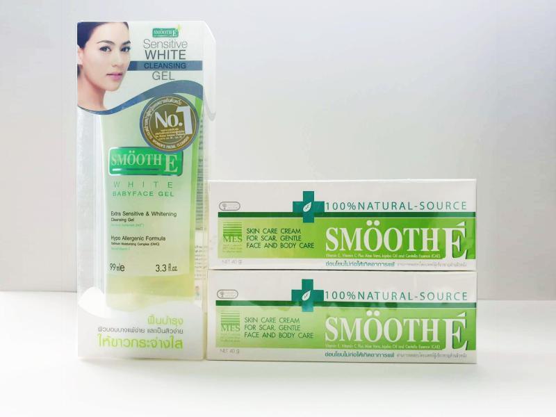 Mua 2 Kem dưỡng ẩm trị thâm Smooth E Cream 40g - Tặng 1 Sữa rửa mặt Smooth E White Gel 99ml cao cấp
