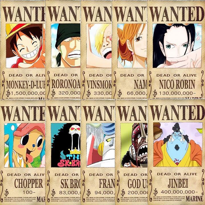 Bộ 10 lệnh truy nã băng Mũ rơm Onepiece - Onepiece Wanted Poster 14x20cm Nhật Bản