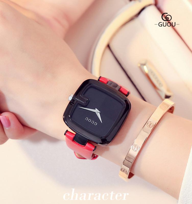 Đồng hồ nữ GUOU dây da size 36mm
