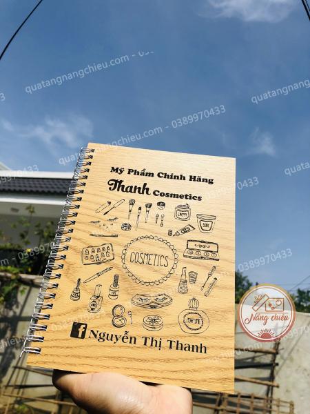 Nhật ký bán hàng - Sổ lò xo handmade ghi chép về mỹ phẩm cho các nàng xinh đẹp - Bìa gỗ cứng chống thâm nước
