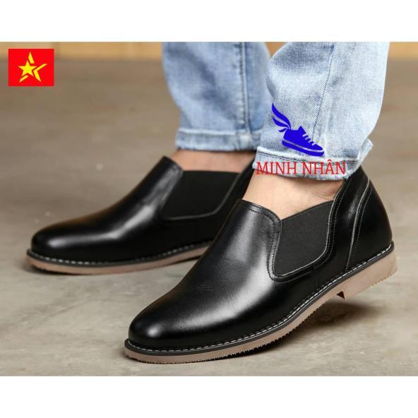 Minh Nhân - Giày tăng chiều cao nam 6cm da bò giày cổ ngắn nam chelsea boot nam giày giày tăng chiều cao bốt cổ ngắn nam da bò cao cấp giá rẻ G-6 màu đen giá rẻ