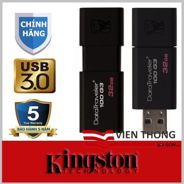 Bảng giá Usb 3.0 32Gb kingston Datatraveler 100 G3 (Đen) - Chính Hãng Phân Phối Phong Vũ