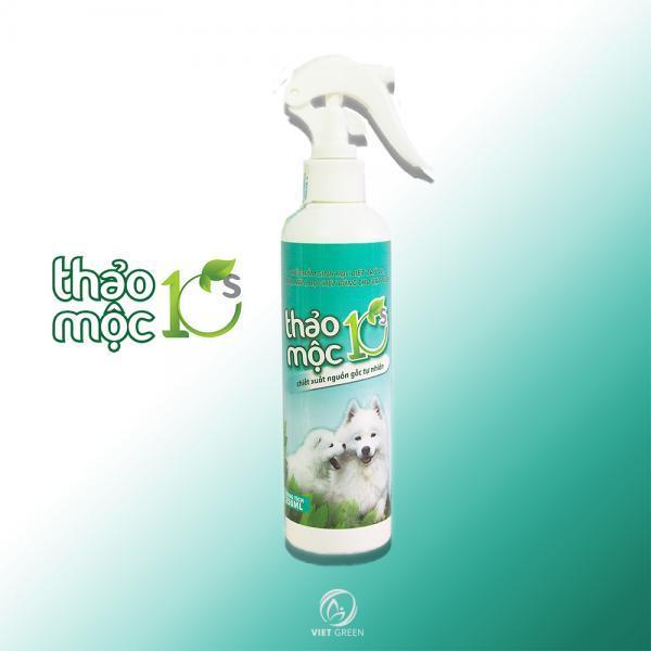 Xịt muỗi Thảo Mộc 10S dành cho Thú Cưng, diệt ký sinh trùng cho vật nuôi, tinh dầu thảo mộc tự nhiên 100% an toàn.