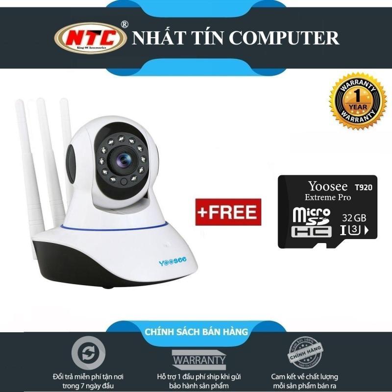 Camera IP Wifi Yoosee 3 Râu HD720P 10 đèn hồng ngoại đàm thoại 2 chiều (Trắng) - Tặng thẻ nhớ Yoosee U3 4K T920 32GB