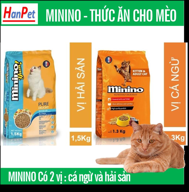 HCM -(Gói lớn 1,5kg&1,3kg) MININO Thức ăn viên cao cấp cho mèo, dùng cho mèo mọi lứa tuổi Thức ăn mèo me-o vị hải sản và cá ngù
