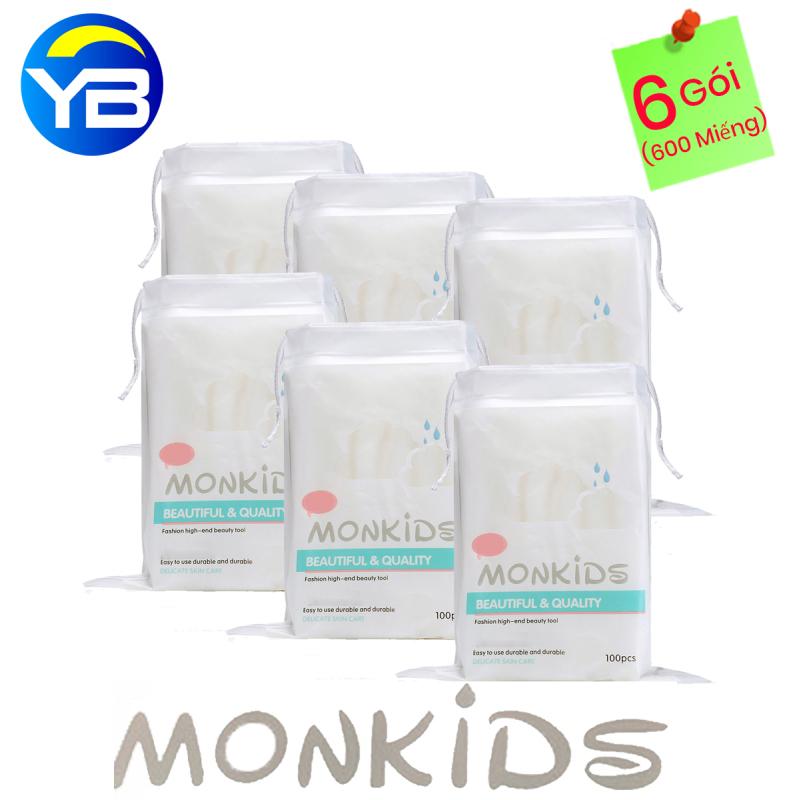 Combo 6 Gói Bông Tẩy Trang Monkids 100% cotton nhập khẩu
