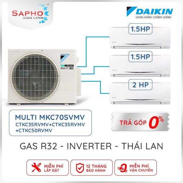 Điều hoà Daikin Multi S Treo Tường Inverter 1 Cục Nóng 3 Dàn Lạnh Combo MKC70SVMV /1.5HP +1.5HP +2.0HP Gas R32 – Chính Hãng Daikin Thái Lan Sản Xuất 2021