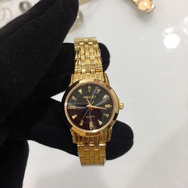 Đồng hồ nữ Halei HL502 vàng mặt đen chống xước, chống nước bán chạy