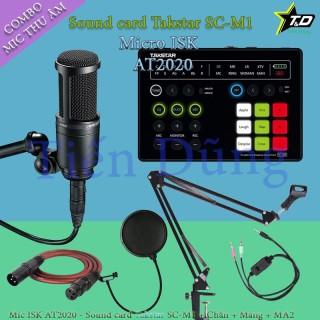 Bộ micro livestream ISK AT2020 đi sound card SC M1 hỗ trợ nguồn 48v dây livestream MA2 chân màng- Trọn bộ mic thu âm thumbnail