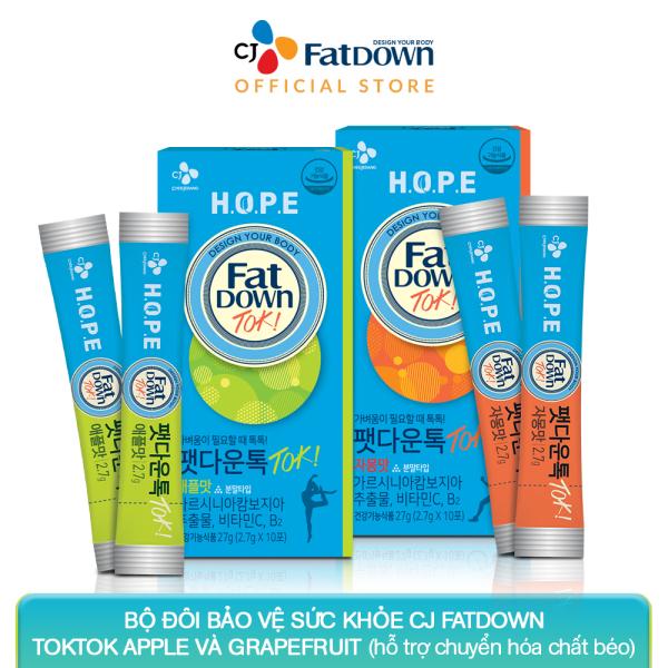 Bộ đôi bảo vệ sức khỏe CJ FATDOWN TOKTOK hỗ trợ chuyển hóa chất béo (APPLE  2.7g x 10 +  GRAPEFRUIT 2.7g x 10) cao cấp