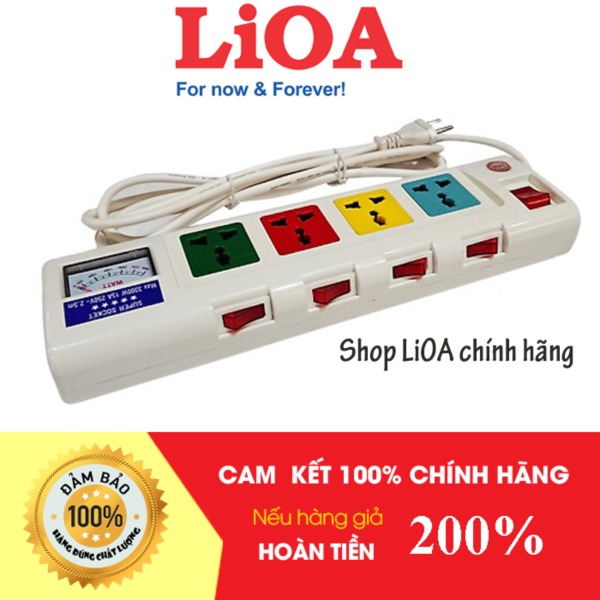Ổ Cắm Kéo Dài Công Suất Lớn LiOA, Có Đồng Hồ Báo, MSP: 4OFSSA2.5-2/4OFSSV2.5-2 giá rẻ