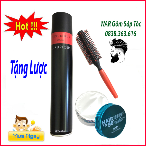 [TẶNG LƯỢC]COMBO GÔM XỊT TÓC NAM NỮ LUXURIOUS 420ML  + SÁP KANFA/sáp vuốt tóc/ wax vuốt tóc/ keo vuốt tóc/ sap vuot toc giá rẻ