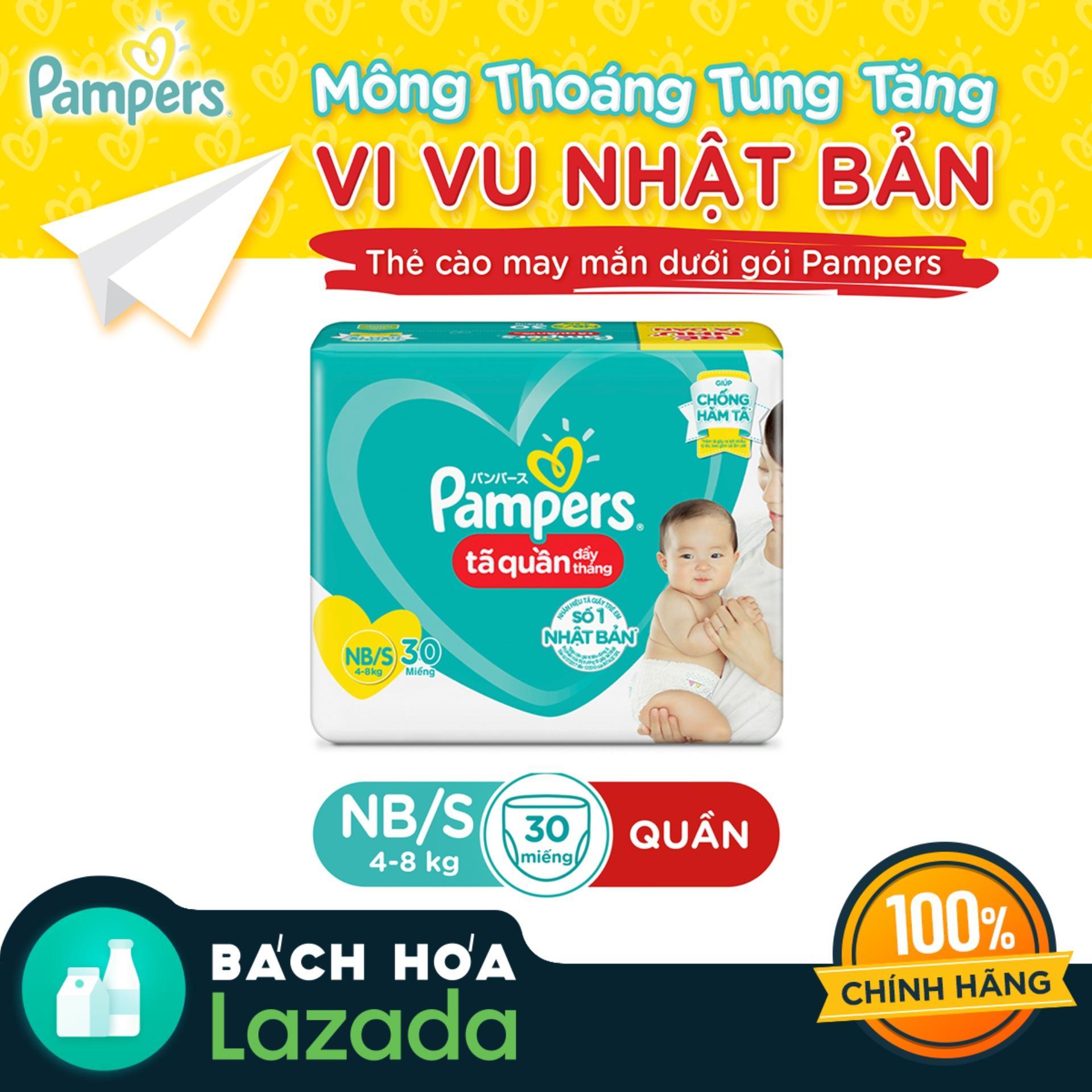 Tã Quần Pampers Đầy Tháng Mới Gói Trung Bình NB/S30...