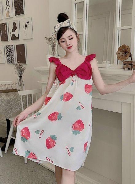 Nơi bán Váy, đầm ngủ tay cánh tiên phối nơ ngực chất lụa satin siêu mềm mát freesize (nhiều hoạ tiết)