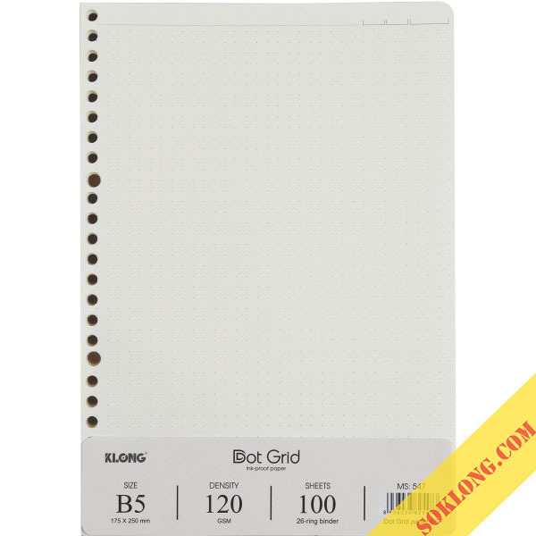 Ruột sổ còng Dot Grid B5 Klong - 100 tờ MS 547
