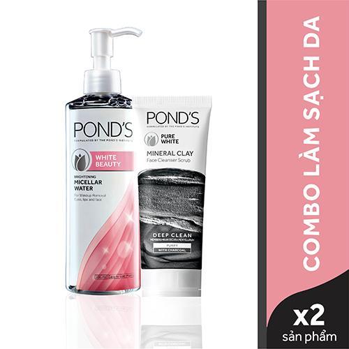 Bộ sản phẩm làm sạch da cơ bản Ponds (Sữa rửa mặt đất sét khoáng sạch sâu & detox 90g + nước tẩy trang White Beauty 235ml) tốt nhất