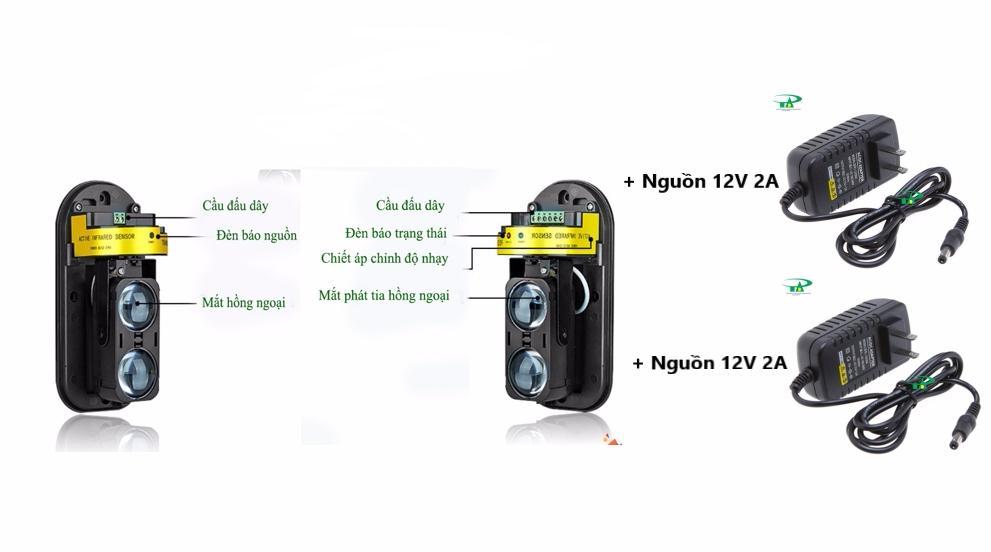 Beam cảm biến hàng rào báo động hồng ngoại tần số 433 DETECTOR ABT-100 - ABT-100 - ABT-100 kèm 01 X nguồn 12V 2A