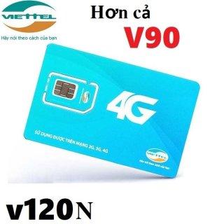 ( SIÊU RẺ) Sim 4G Viettel V120N tặng 4GB Ngày (120GB Tháng) miễn phí gọi nội mạng và 50 phút ngoại mạng chỉ từ 90k tháng thumbnail