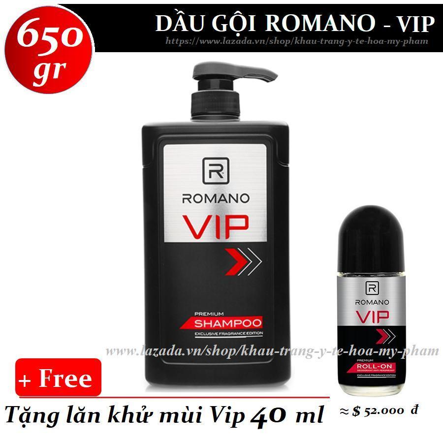 Romano - Dầu gội cao cấp Vip 650 gr + Tặng lăn khử mùi Vip 40 ml