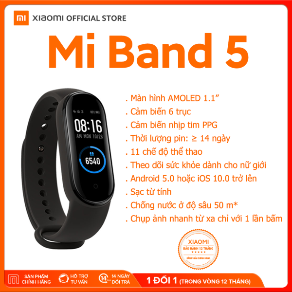 Giá [XIAOMI OFFICIAL] Vòng đeo tay thông minh Xiaomi Mi Band  5 - Màn hình AMOLED 1.1 Chống nước 5ATM, Theo dõi sức khỏe, kết nối Bluetooth, hỗ trợ tiếng Việt - Hàng chính hãng - Bảo hành 12 tháng