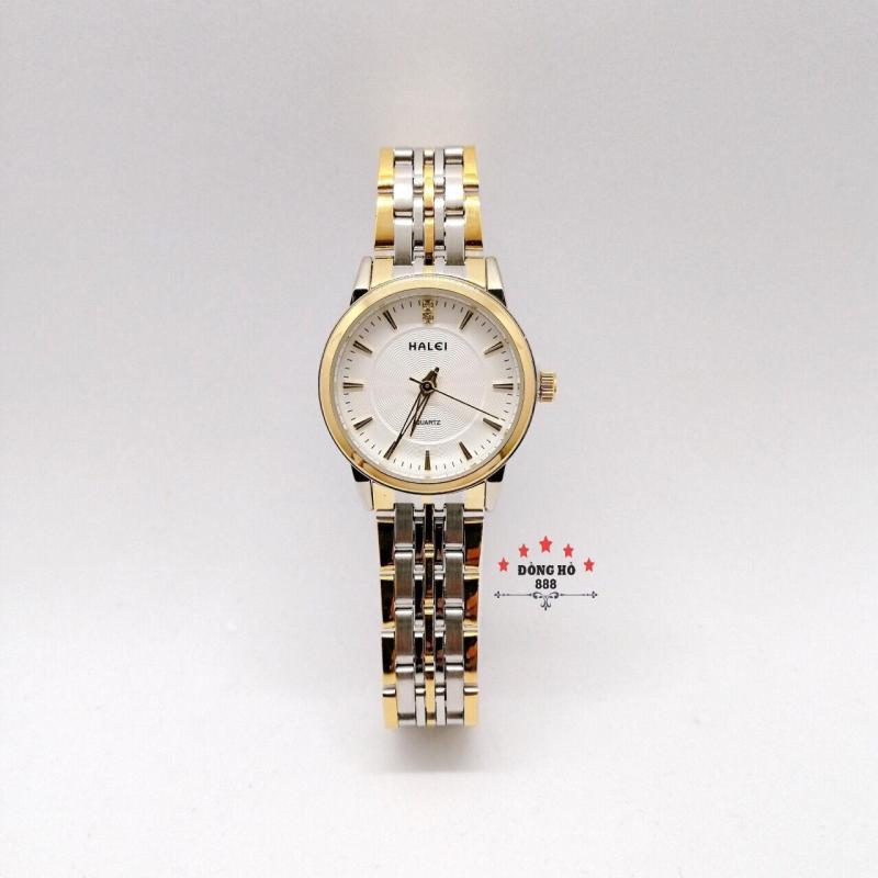 Đồng hồ nữ HALEI dây kim loại thời thượng ( HL552 dây demi mặt trắng ) - TẶNG 1 vòng tỳ hưu phong thuỷ
