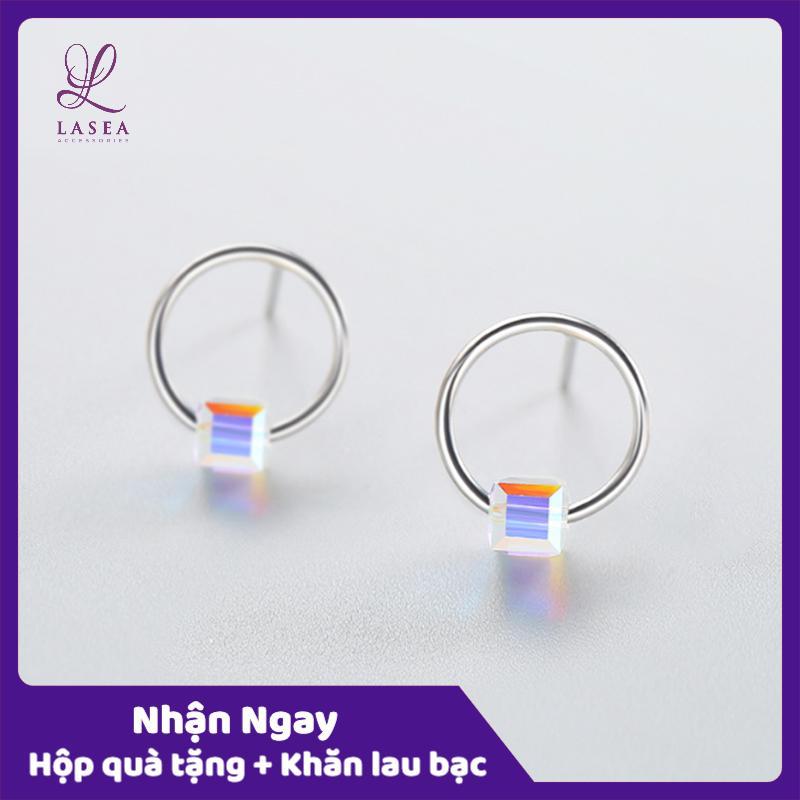 Bông Tai Nữ Trang Sức Bạc Ý S925 Lasea - Hoa Tai Stud đính đá Vuông Cao Cấp ( Xanh Ngọc ) E458 Giá Rẻ Bất Ngờ