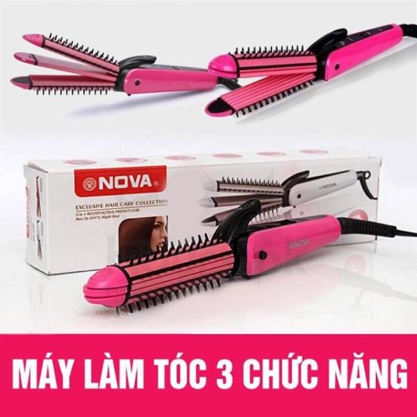 Máy duỗi tóc 3 in 1 Nova - máy uốn duỗi tóc mi - máy uốn duỗi bấm tóc - Máy duỗi tóc mini - Uốn Tóc Làm Xoăn Tóc