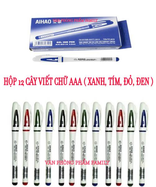 Mua Hộp 12 cây viết chữ AAA ( xanh, tím, đỏ, đen ) hàng công ty chất lượng cao
