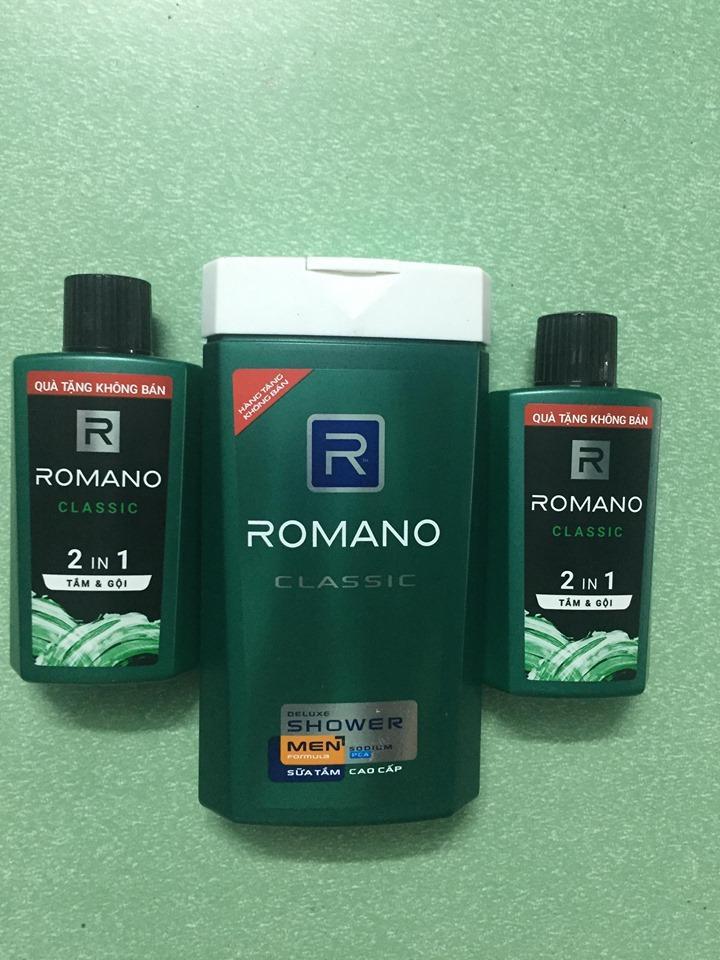 COMBO 2 chai ROMANO 2 in 1 tắm & gội 60g + 1 chai ROMANO CLASSIC sữa tắm 150g nhập khẩu