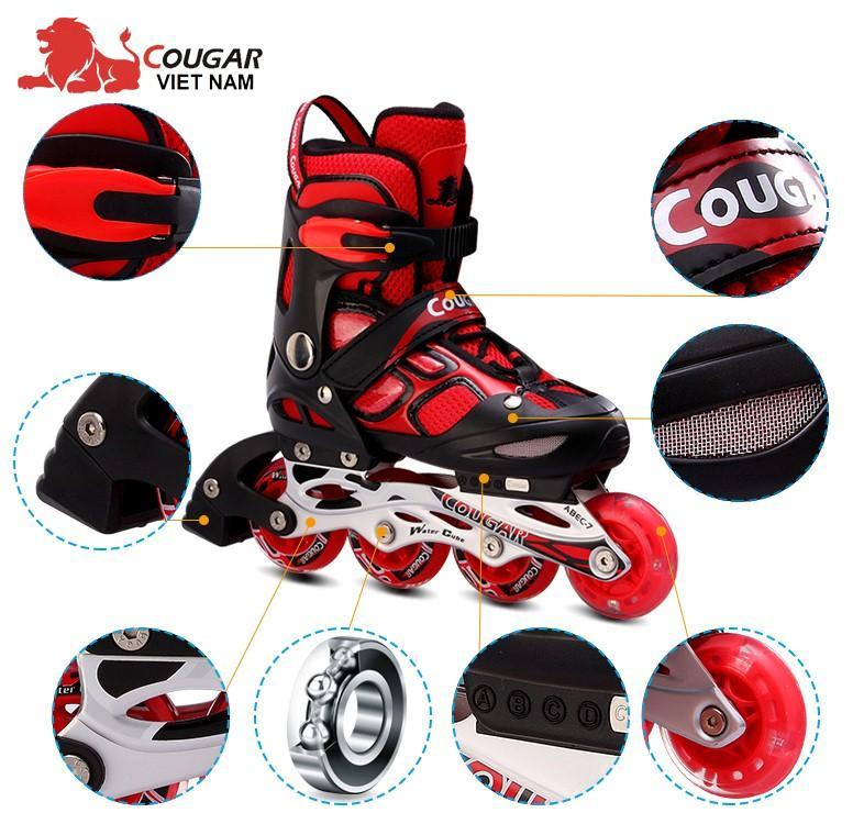 Mua Giày trượt patin cao cấp Cougar 835LSG - có đèn Tặng bộ bảo hộ (Gối, khuỷu, tay).