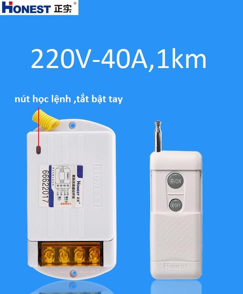 Công tắc điều khiển từ xa công suất lớn Honest HT-6220KGD-1 220V/40A tầm xa 0-1000m (có học lệnh) cho máy bơm ,máy rửa xe,bình nước nóng...
