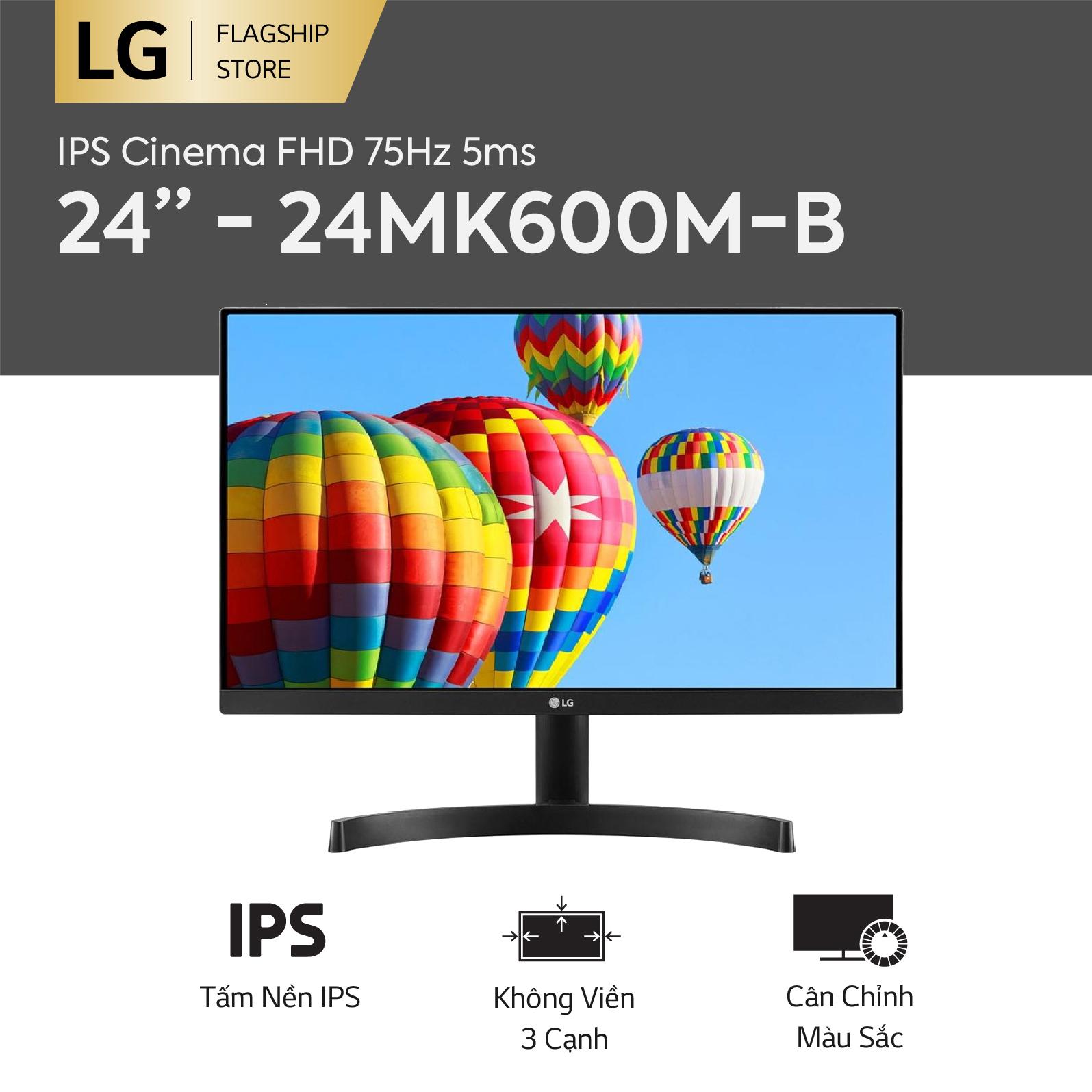 Màn hình máy tính LG IPS Cinema FHD (1920 x 1080) 75Hz 5ms 24 inches l 24MK600M-B l HÀNG CHÍNH HÃNG