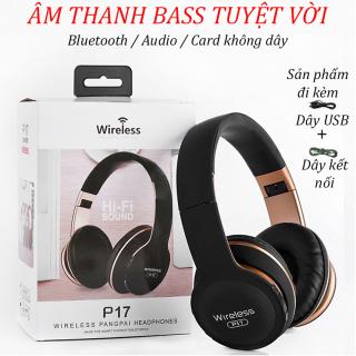 Tai Nghe Chụp Tai P17, Tai Nghe Nghe Nhạc, Chơi Game, Tai Nghe studio chất lượng cao P17 Wireless Hifi Sound, thiết kế nhỏ gọn, âm thanh sắc xảo, có khả năng chống ồn cực tốt, Tai Nghe chụp tai hàng chuẩn - nghe rất hay thumbnail