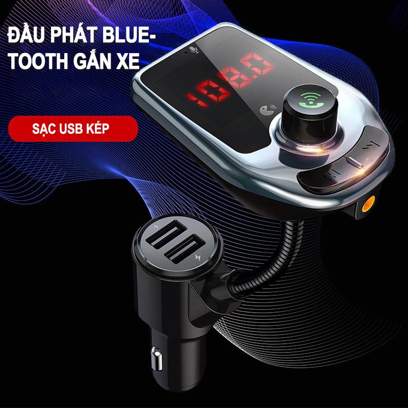Bộ Thu Phát Bluetooth Phát Nhạc Và đài FM Với 2 Cổng Sạc USB Cho Xe ô Tô Giá Giảm