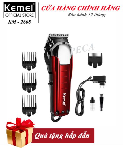Tông đơ cắt tóc không dây Kemei KM-2608 chuyên nghiệp dành cho salon và gia đình - công suất  9W mạnh mẽ - có thể cắt tóc, chấn viền, hãng phân phối chính thức , bảo hành 12 tháng nhập khẩu